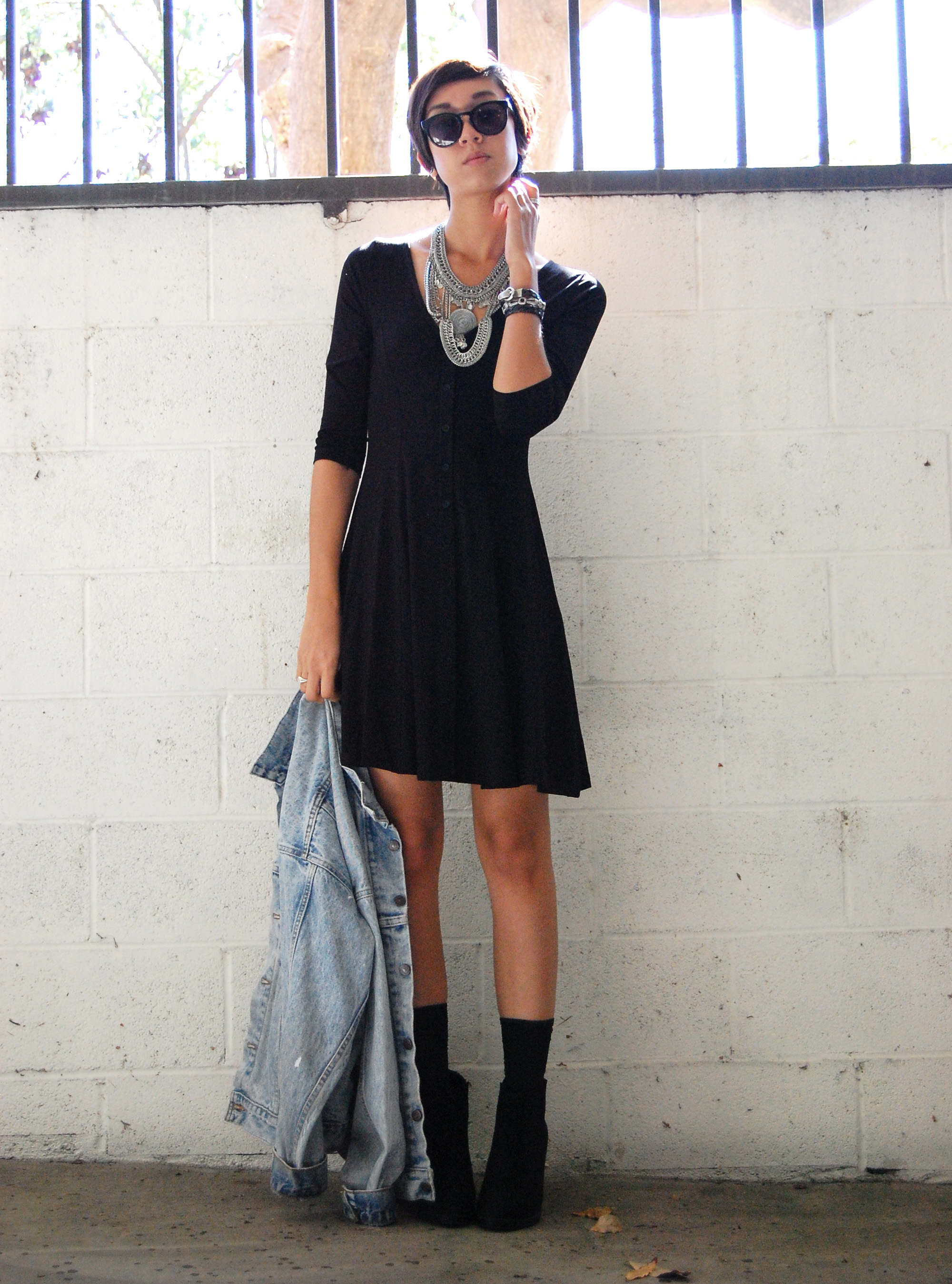 Black Button Down Skater Dress